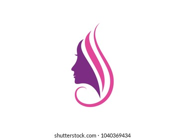 Women face silhouette character Logo Template