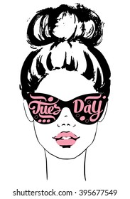 Women face with sunglasses Tuesday. Fashion Girls Illustration Set