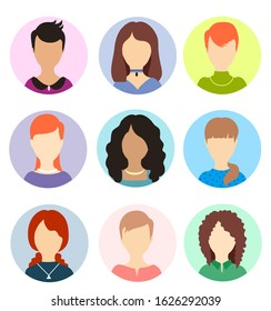 Women faceless avatars. Female human anonymous portraits, woman round vector profile avatar icons, website users head pictures. Women persons portraits collection.