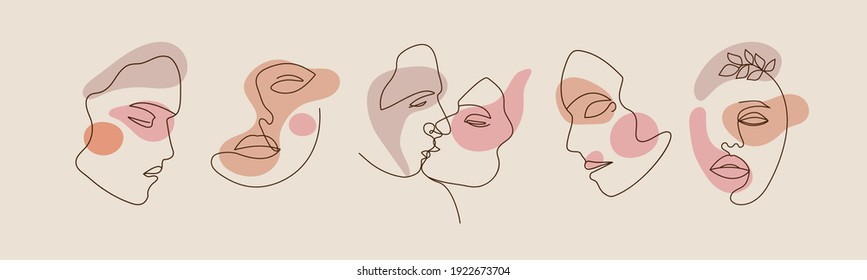 Women faces, minimalistic shapes and Abstract line art. Modern hand drawn vector illustrations. Silhouettes for Social media. Female portraits for  postcard or brochure, templates or backgrounds.