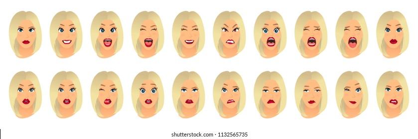 Women facial expressions, gestures, emotions happiness surprise disgust sadness rapture disappointment fear surprise joy smile cry despondency. Cartoon icons set isolated. Vector illustration