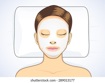 Women facial mask while sleeping for beauty skin treatment