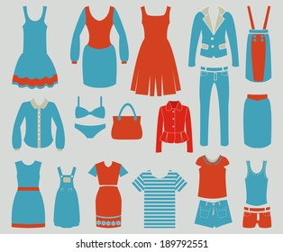 women Fashion clothes vintage icons Shopping Icons