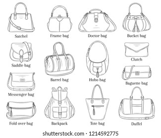 Women fashion handbags collection, vector sketch illustration. Different types of stylish bags, satchel, hobo, doctor, clutch, duffel, baguette, tote, backpack isolated on white background.