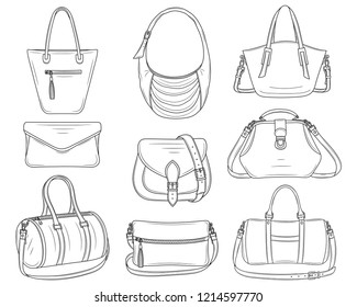 Women fashion handbags collection, vector sketch illustration. Different types of stylish bags, satchel, saddle, hobo, doctor, clutch, duffel, tote,barrel isolated on a white background.