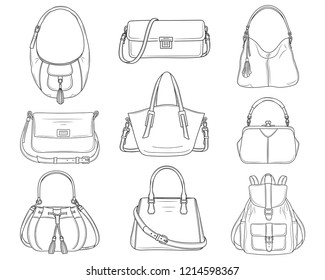Women fashion handbags collection, vector sketch illustration. Different types of stylish bags, satchel, hobo, frame,   baguette, bucket, backpack isolated on white background.