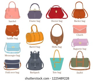 Women fashion handbags collection, vector  illustration. Different types of stylish bags, satchel, hobo, doctor, clutch, duffel, baguette, tote, backpack isolated on white background.