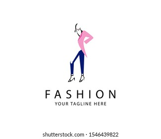 Women Fashion Logo template with incomplete shape or negative space style of dress or clothes, best for logo or magazine cover