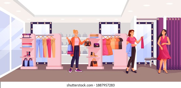 Women in fashion shop trying clothes. Woman in dress in fitting room, assistant helping, young girl looking at clothes. Apparel on hangers. Modern boutique vector illustration.