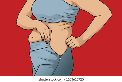 Women with fat belly