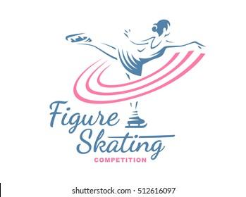 Women Figure Skating logo, emblem illustration on white background