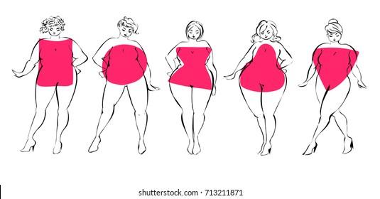 Women figure types vector illustration