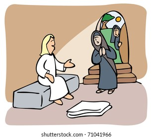 Women find an angel inside Jesus tomb