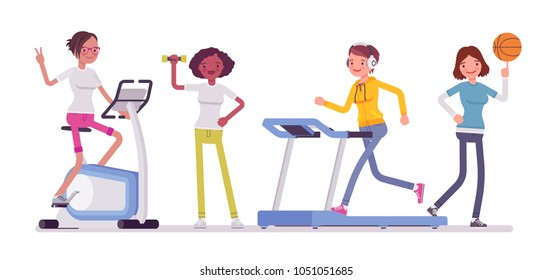 Women fitness club. Slim attractive ladies doing sport exercise at strength training equipment and workout equipment for health and weight loss for body shape. Vector flat style cartoon illustration