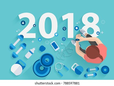 Women fitness concept of fitness training 2018 new year, vector illustration modern layout template design