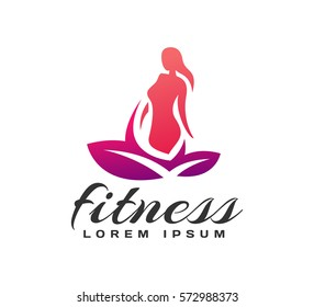Women fitness logo. Fitness icon. Sports, health, spa, yoga, beauty vector logo. Woman silhouette. Diet logo. Spa salon logo.