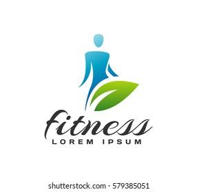 Women fitness logo. Fitness icon. Sports, health, spa, beauty vector logo. Woman silhouette. Diet, Cosmetics logo. Spa salon logo.