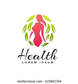 Women fitness logo. Fitness icon. Sports, health, spa, yoga, beauty vector logo. Woman silhouette. Diet, Leafs, Spa salon logo. Natural and organic food icon. Cosmetics, Beauty salon logo.