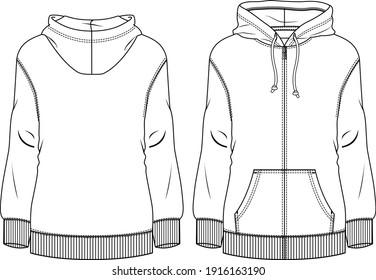 Women Fleece Top fashion flat sketch template. Technical Fashion Illustration. Sweatshirt
