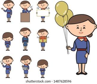 Women flight attendant business set