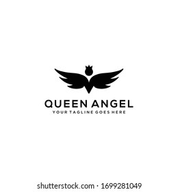 Women fly angel with crown sign logo with wings silhouette style