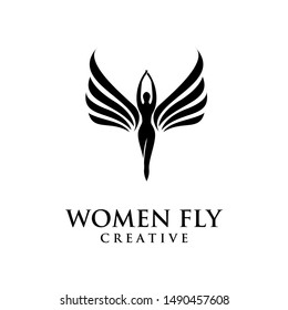 women fly angel logo, award, and wings with silhouette style