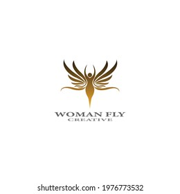 women fly angel logo  award  and wings with silhouette style