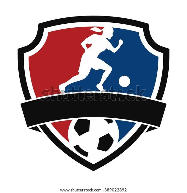 Women Football Logo Stock Vector (Royalty Free) 389022892