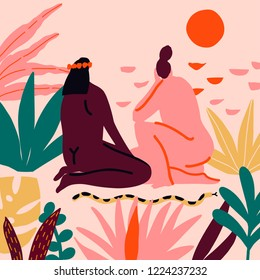 Women friends sitting on the beach in the jungle and watching the sunset illustration in vector. Poster or card about sisterhood, feminism and love between woman.