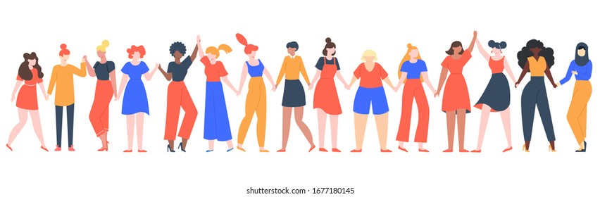 Women friendship group. Diverse female team standing together, holding hands, girls power, multinational sisterhood community vector illustration. Friendship group females, friends people diversity