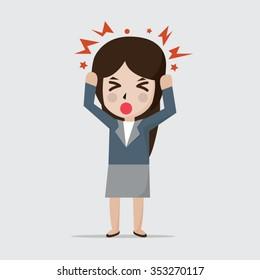 Women get headache vector illustration