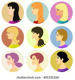 women, girl avatar on a colored background. vector illustration