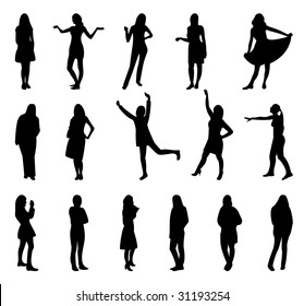 Women and girl silhouettes.