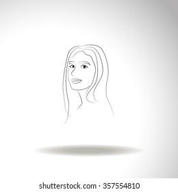 Women. Girl vector icon.