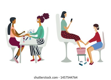 Women or girls performing manicure and pedicure,  They surrounded by tools and cosmetics for nail care.. Concept for beauty salon. Colorful vector illustration in flat cartoon style.