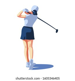 Women Golf. The girl hit the ball. Flat vector illustration, isolated characters on white background.