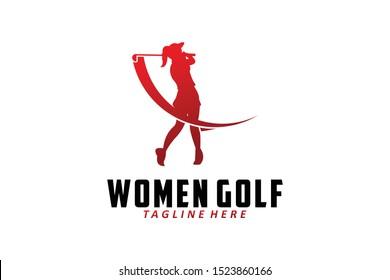women golf logo icon vector isolated