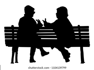 Women gossip at the break. Senior lady friends sitting on bench and talking in public park. Grandmothers spread rumors vector silhouette illustration. Backbite senior girls. Outdoor relaxation.