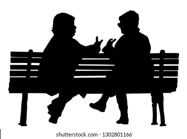Women gossip at the break. Senior lady friends sitting on bench and talking in public park. Neighbors spread rumors vector silhouette. Backbite mature girls. Outdoor relaxation. Mothers speak about.