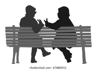 Women gossip at the break. Senior lady friends sitting on bench and talking in public park. Grandmothers spread rumors vector silhouette illustration. Backbite senior girls. Outdoor relaxation.