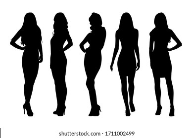Women, group of businesswomen silhouettes. Isolated vector people