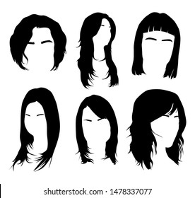 Women haircuts and women hairstyles. The element of the head and face hipster. Hair and eyebrow. Vector illustration. Fashion and style. black hair