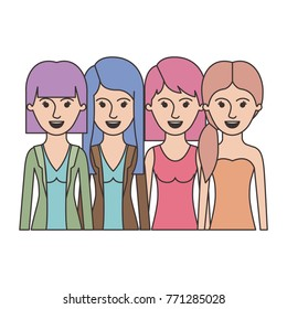 women in half body with casual clothes and long and short hair and hairstyle mushroom layered and pigtail in colorful silhouette