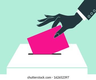 Women hand down the ballot in the ballot box.