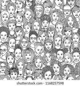 Women - hand drawn seamless pattern of a crowd of different women from diverse ethnic backgrounds in black and white