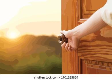 Women hand open door knob or opening the door, grand opening, Close up hand open door.