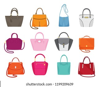 Women handbags collection of fashionable items isolated icons set vector. Bags with zippers and pockets, handles and adjustable shoulder straps lace