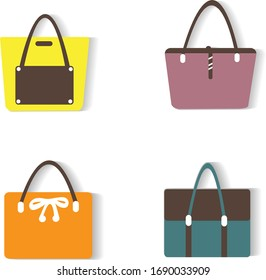 Women handbags collection of fashionable items isolated icons set vector. Bags with zippers and pockets, handles and adjustable shoulder straps lace.