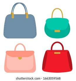 Women handbags vector cartoon set isolated on a white background.