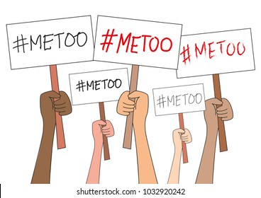 Women hands holding sign boards with #Metoo hashtag word, isolated on white. Me too movement. Anti sexism protest against inappropriate behavior towards women. Background.